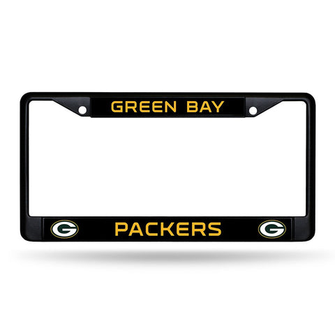 Green Bay Packers Black Chrome License Plate Frame