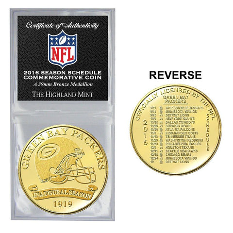 Green Bay Packers 2016 Season Schedule Commemorative Coin
