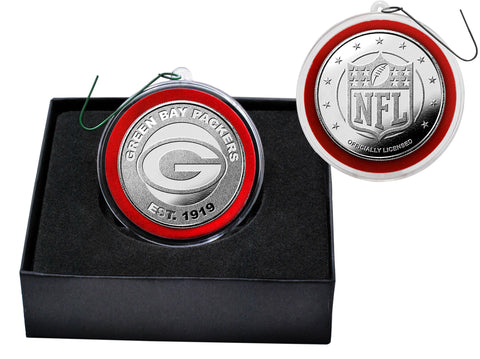 Green Bay Packers Silver Plate Team Coin Ornament