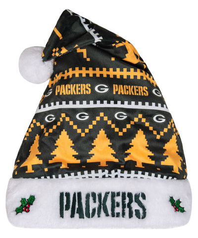 Green Bay Packers Adult Santa Hat, Green