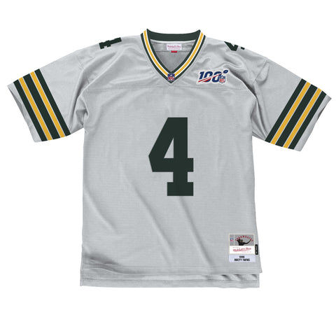 Green Bay Packers Brett Favre #4 100 Year Silver Legacy Replica Jersey