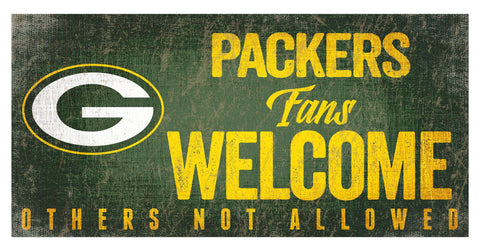 Green Bay Packers Fans Welcome Wooden Sign