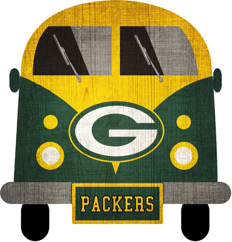 "Green Bay Packers Team Bus 12"" Wooden Sign"