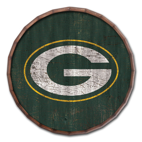 "Green Bay Packers Cracked Color Barrel Top 24"" Wood Sign"