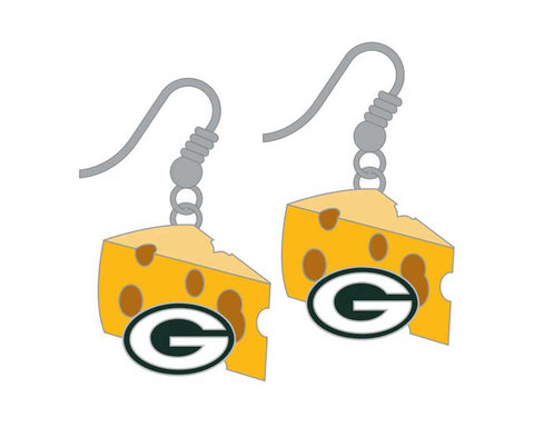 Green Bay Packers Cheese Wedge Logo Dangle Earrings