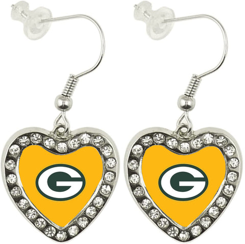 Green Bay Packers Crystal Heart Dangle Earrings