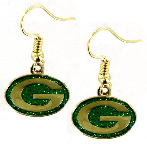 Green Bay Packers Glitter Dangler Earrings