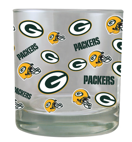 Green Bay Packers All-Over Print Rocks Glass