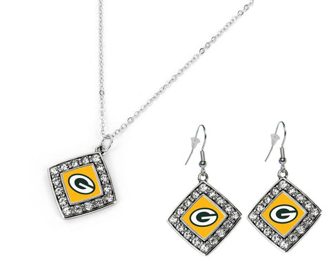 Green Bay Packers Crystal Diamond Earrings & Necklace Set