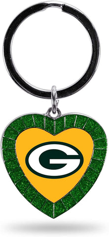 Green Bay Packers Rhinestone Hearth Keychain