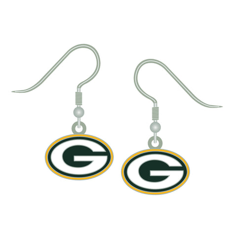 Green Bay Packers Silver J-Hook Logo Earrings