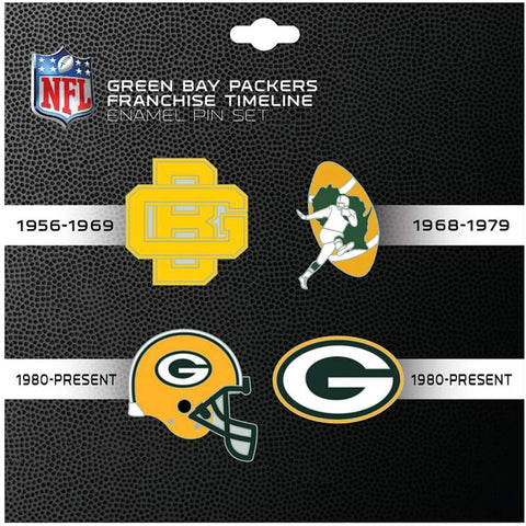 Green Bay Packers Franchise Timeline Enamel 4 Pin Set