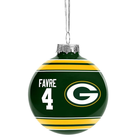 Green Bay Packers Brett Favre #4 Retired Player Glass Ornament