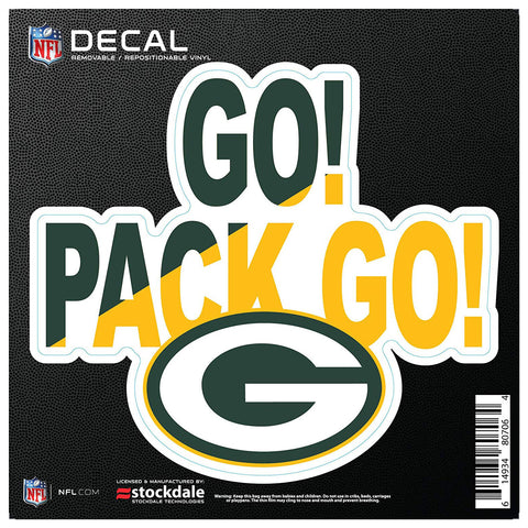 "Green Bay Packers Go Pack Go 6"" x 6"" Decal"