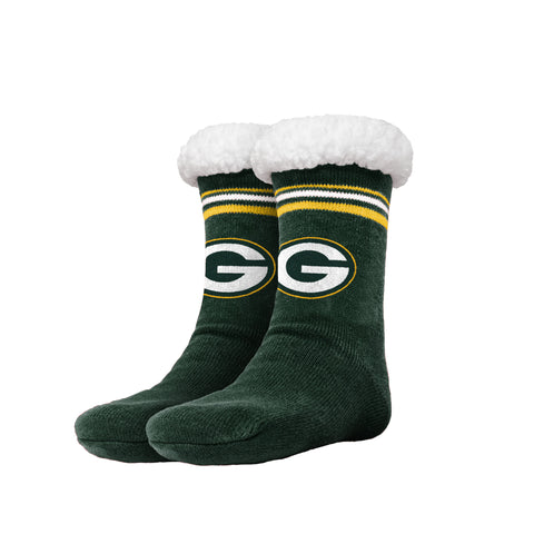 Green Bay Packers Women's Stripe Logo Tall Footy Slipper Socks, 6-10