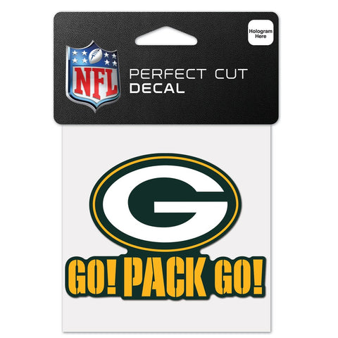 "Green Bay Packers Go Pack Go 4"" x 4"" Perfect Cut Decal"