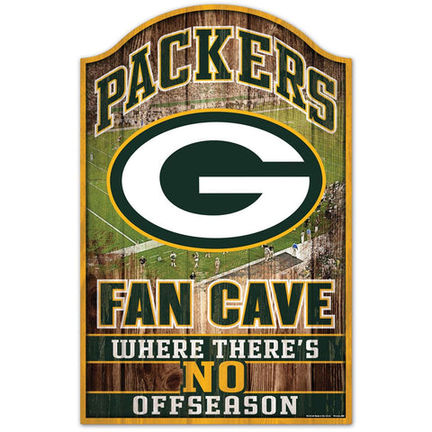 "Green Bay Packers Fan Cave 11"" x 17"" Wood Sign"