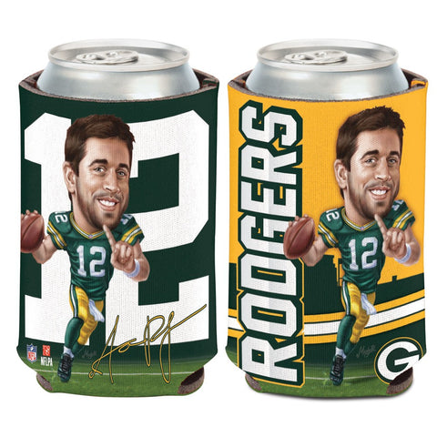 Green Bay Packers Aaron Rodgers Caricature 12oz Can Cooler