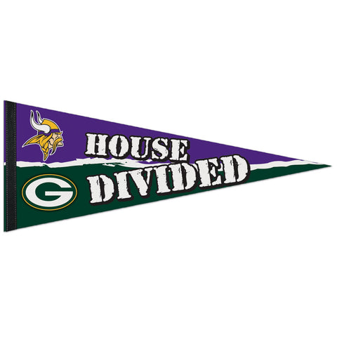 wincraft,green bay packers,minnesota,vikings,house,divided,pennant,sports,souvenir,collectible,wall,home,decor,decoration,hanging