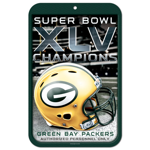 Green Bay Packers Super Bowl Champs Plastic Locker Room Sign