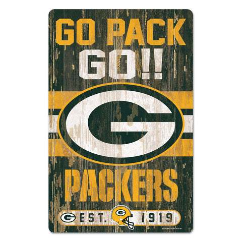 "Green Bay Packers Slogan 11"" x 17"" Wood Sign"