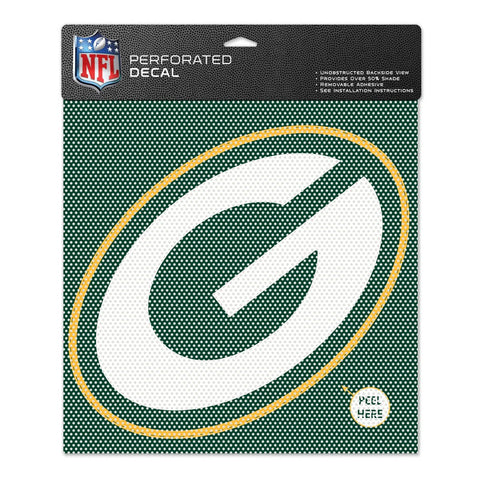 NFL Green Bay Packers Perforated Decal, Large/12 x 12-Inch, White