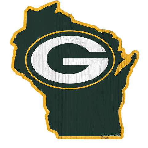 "Green Bay Packers State Logo 14"" x 13"" Sign"