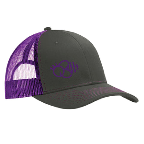 Queen Bee Snapback Trucker Cap - Grey steel/Purple