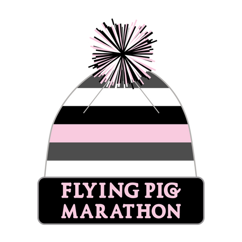 Flying Pig Winter Beanie - Black White Pink