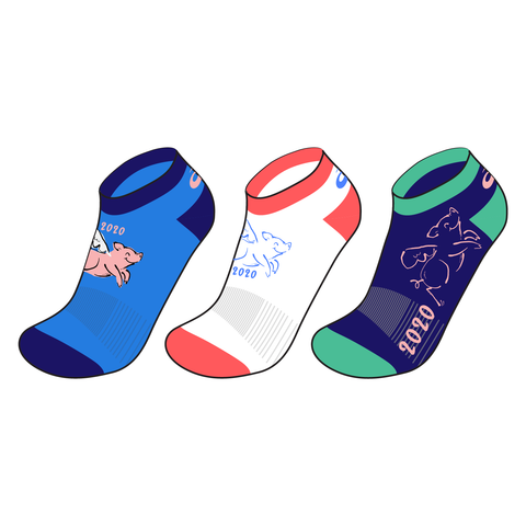 Flying Pig Marathon - 2020 Themed Socks (3 Pack)