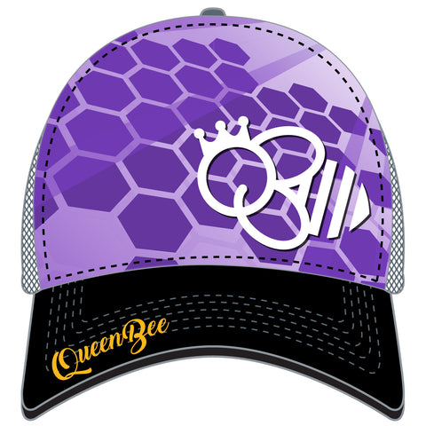 QUEEN BEE TRUCKER HAT - PURPLE BLACK