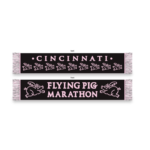 Flying Pig Winter Scarf-Black & Pink