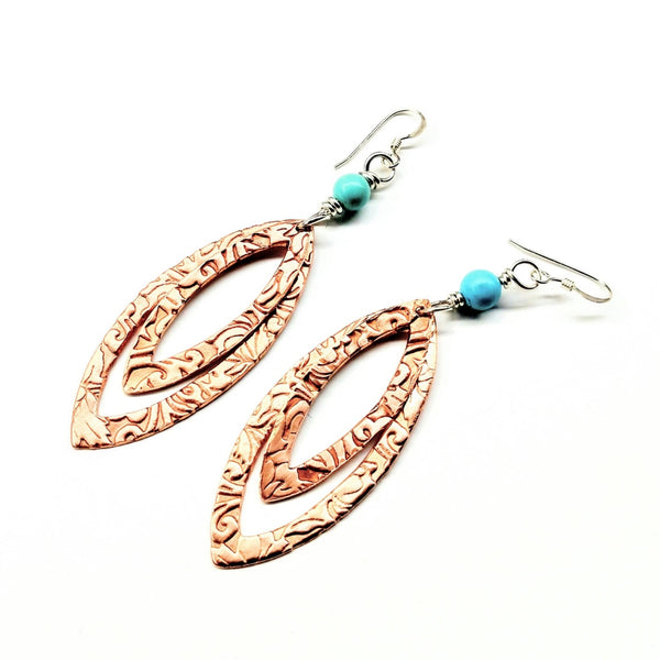 LONG POINTED OVAL COPPER AND TURQUOISE EARRINGS - Alexa Martha Designs
