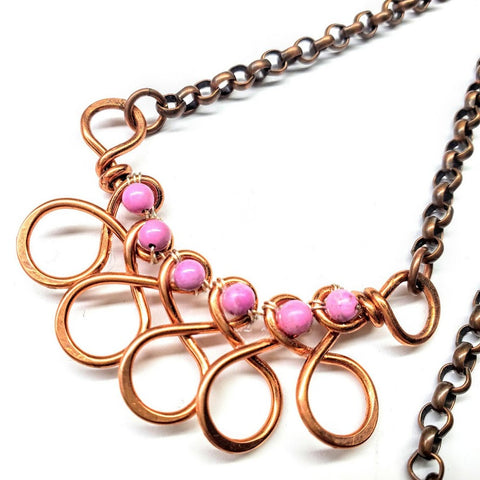Pink Magnesite Wire Sculpted Copper Swirl Necklace
