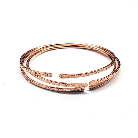 Hammered Copper Hammered Open Bangle 3- Pack by Alexa Martha Designs