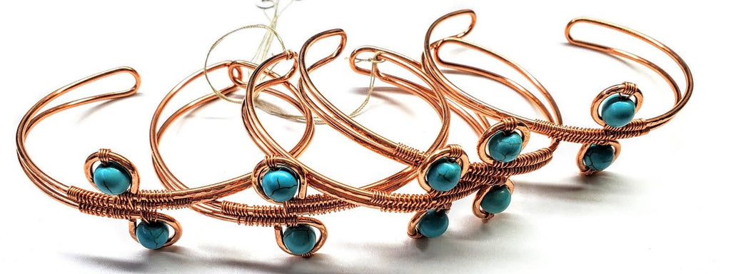 LARGE WIRE WRAPPED ADJUSTABLE TURQUOISE BEADS COPPER WIRE BRACELET