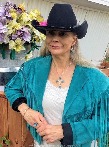 Rose Montana is modeling Lexi Butler Designs Blue and Aqua  Artisan Made Jewelry