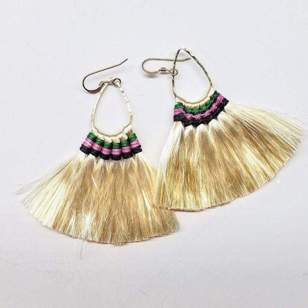 Hawaii Hula Skirt Fan Tassel Hoop Earrings 1