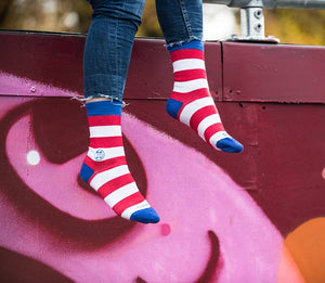 Homeless Red & White Stripe Sock - Bamboo