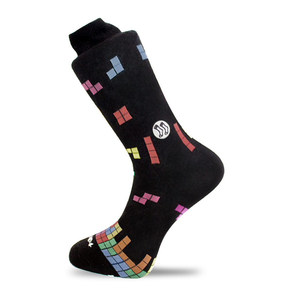 Tetris Block Black/Multi Sock (wholesale)
