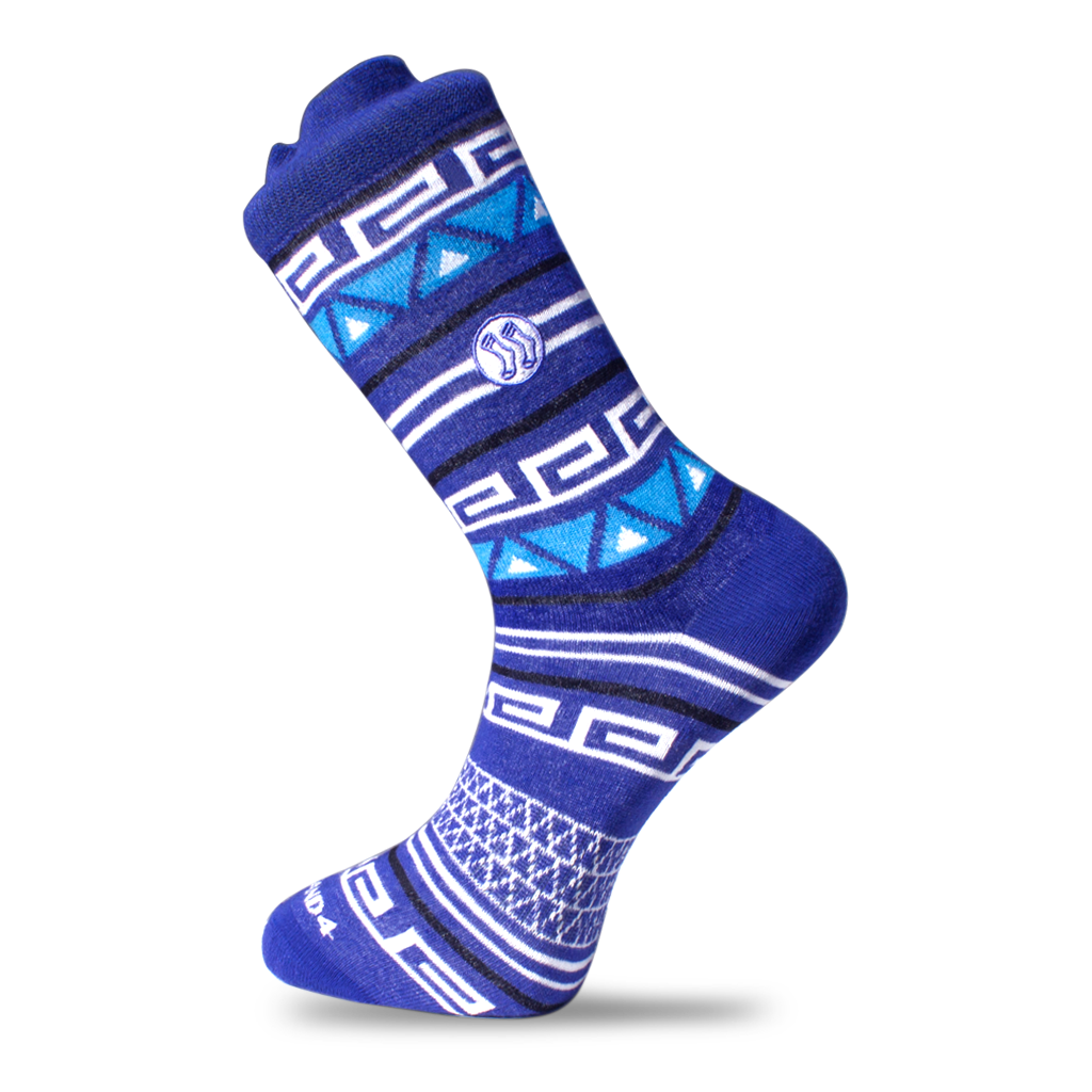 Aztec Double Blue Sock - Cotton