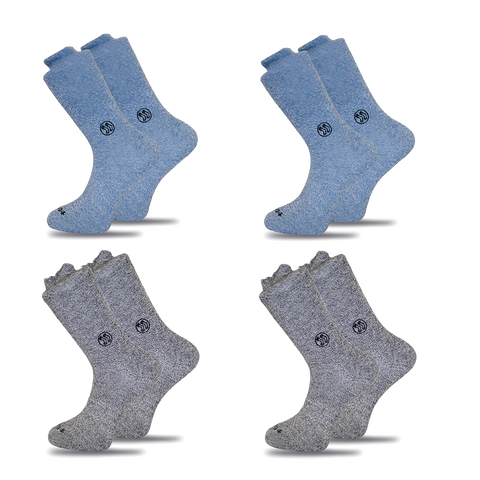 4x Mixed Functional Navy & Grey Twisted Cotton Ankle Sock