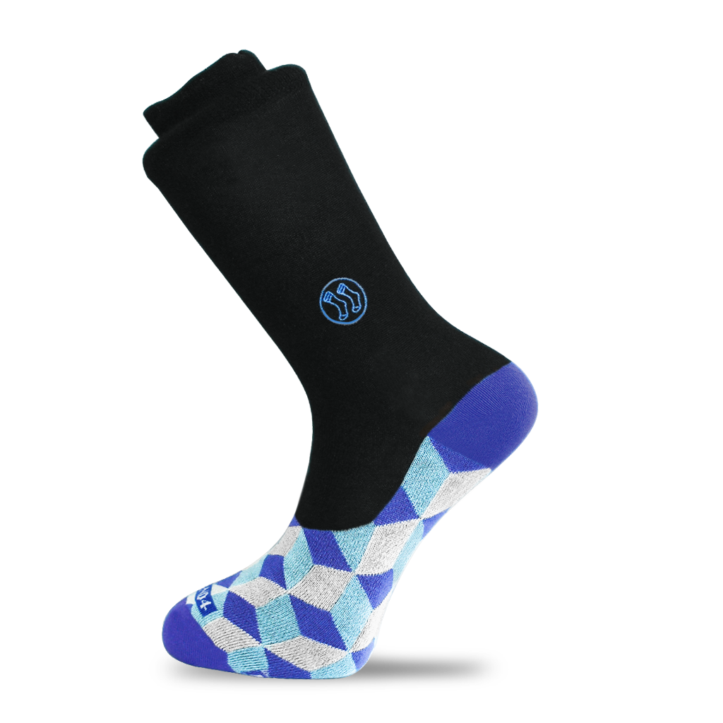 Black Optical Blue Office No Show Sock (wholesale)