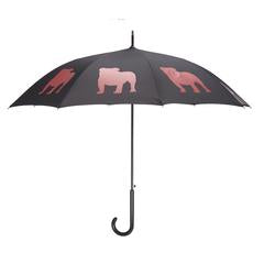English Bulldog Umbrella Red on Black