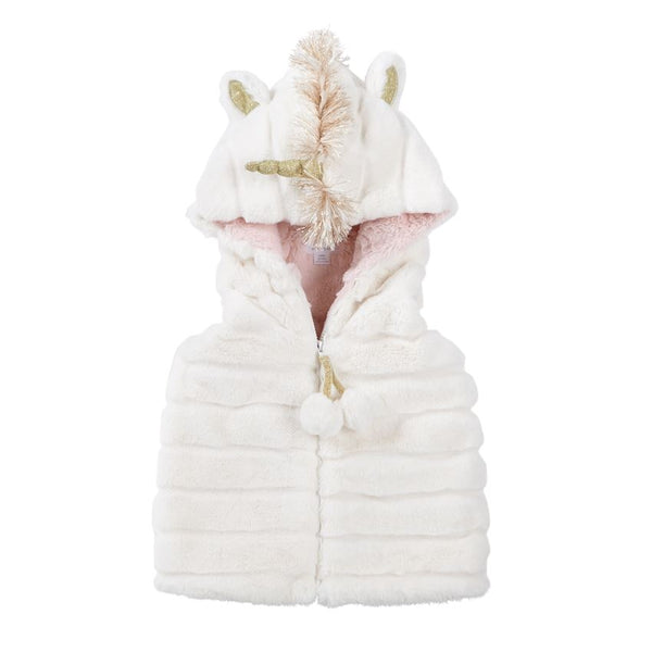 WHITE UNICORN HOODED FUR VEST