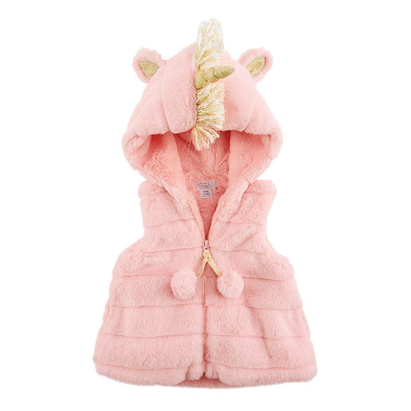 PINK FAUX FUR UNICORN VEST