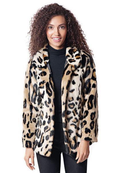 GRAPHIC LEOPARD FAVORITE FAUX FUR JACKET