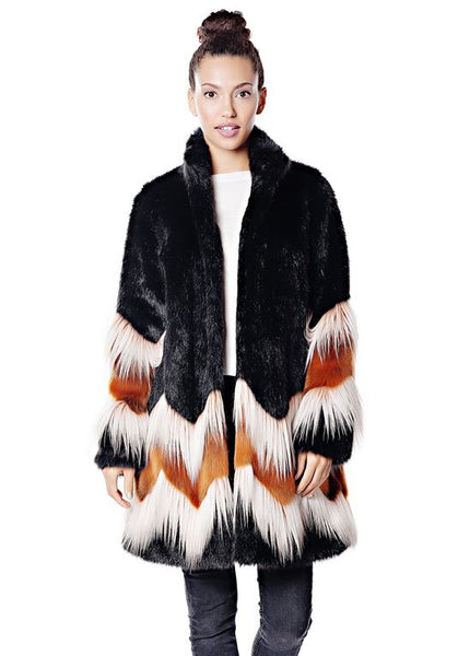 POSH FOX FAUX FUR KNEE-LENGTH COAT