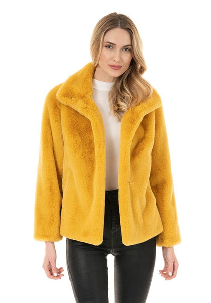 GOLDENROD FAUX FUR EVERY-DAY MINK JACKET