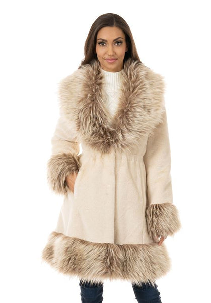 CHAMPAGNE MINK PARK AVENUE FOX COLLAR FAUX FUR COAT